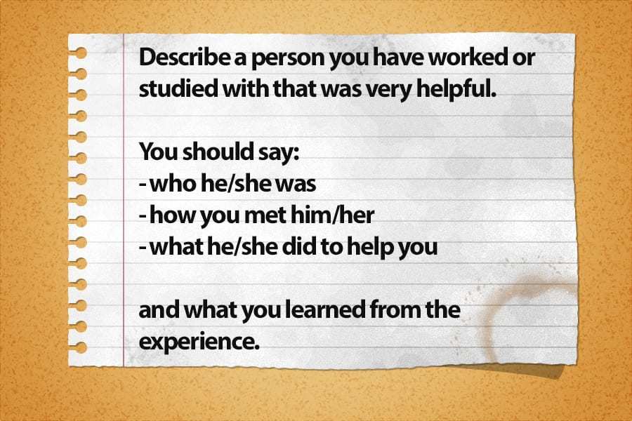 cue card describe a helpful person - Describe a Helpful Person [IELTS Speaking Part 2]