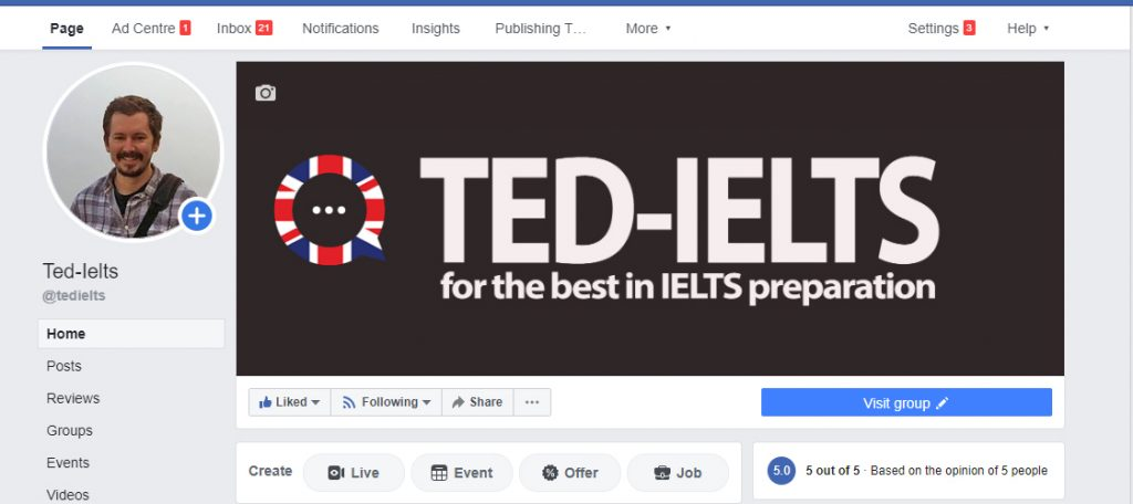 ielts facebook page 1024x456 - 5 Ways Get Feedback on Your English (from Native Speakers)