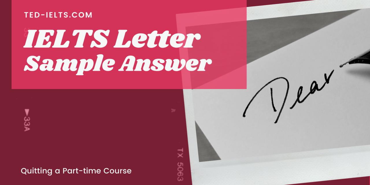 Sample IELTS Letter: Leaving a Course