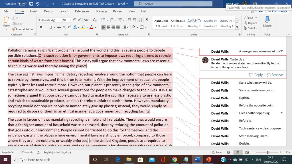 screenshot of annotated essay for ielts 1024x576 - 7 Steps to Structuring an IELTS Task 2 Essay