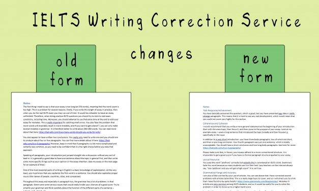 Improvements to Writing Correction Service