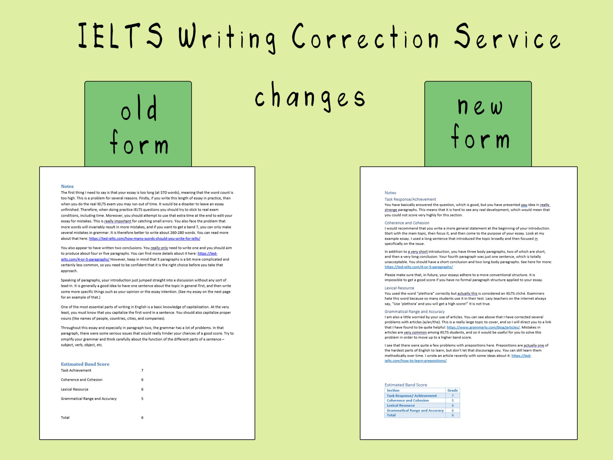 ielts writing correction service - changes and improvements