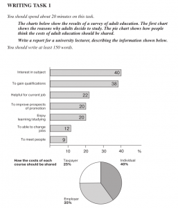 ielts education bar chart and pie chart