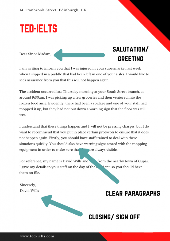 ielts writing template - letter of complaint