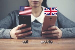 mobile phone vs cell phone (british vs american spelling)