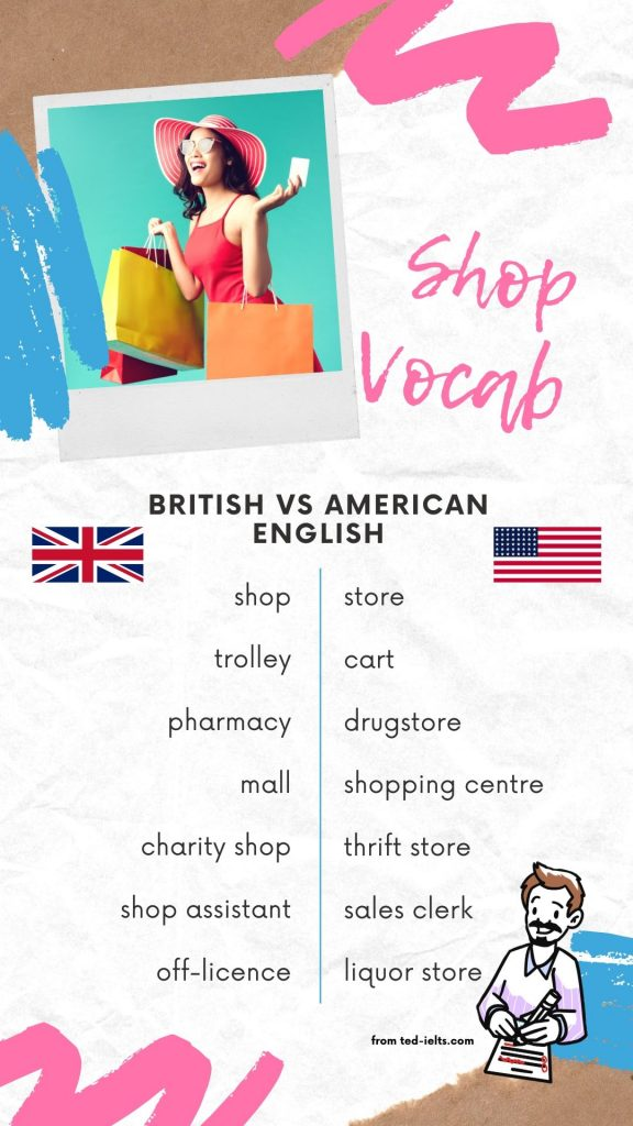 british vs american words for shops