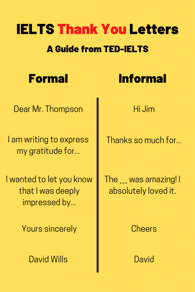 formal vs informal language for thank you letters