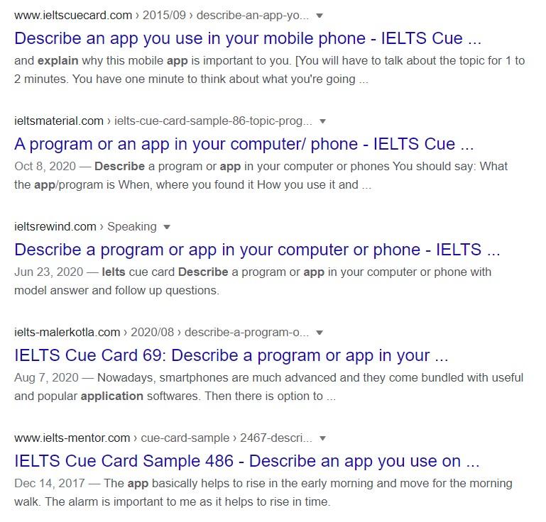 describe an app for ielts