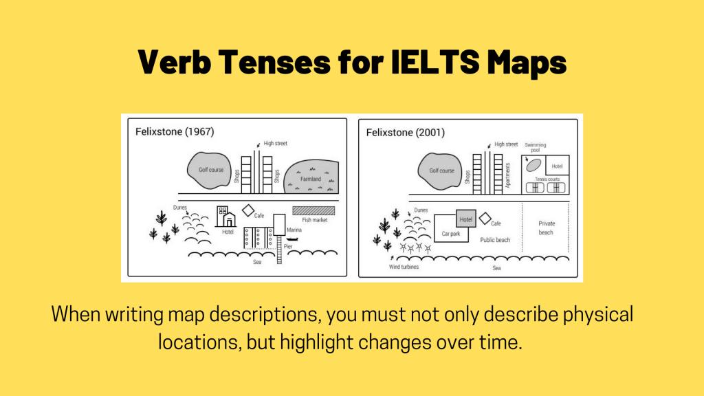 verb tenses for describing ielts maps