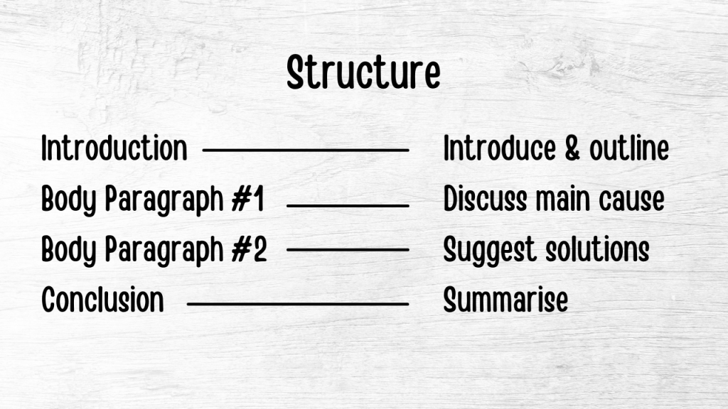 ielts writing task 2 structure (cause and solution essay)