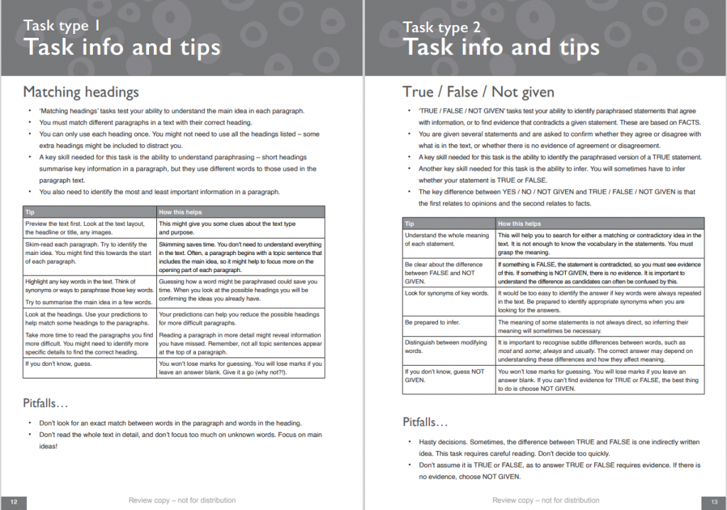 ielts reading tips and info