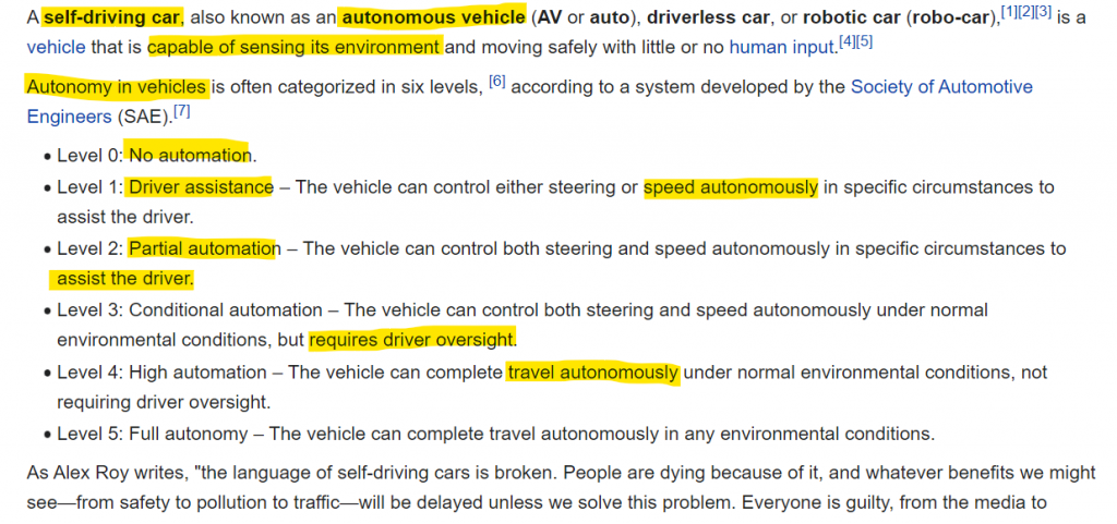 driverless vehicle vocabulary